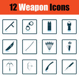 Set of twelve weapon icons Stock Photo