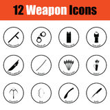 Set of twelve weapon icons Royalty Free Stock Photos
