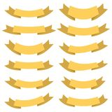 Set of twelve yellow ribbons and banners for web design Stock Photo
