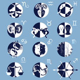 Set of Twelve Zodiac Horoscope Signs and Symbols Stock Photography