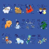 Set of twelve zodiac signs in cartoon style. Vector vector illustration