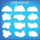 Set of twelwe flat-styled clouds. Royalty Free Stock Photos