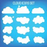 Set of twelwe flat-styled clouds. Royalty Free Stock Photos