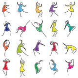 Set of twenty abstract female dancers Royalty Free Stock Photo