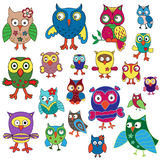 Set of twenty amusing colorful owls. Cartoon vector illustration isolated on the white background Royalty Free Stock Images
