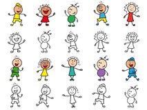 Set of twenty cartoon cheerful characters. Set of twenty colourful and monochrome cartoon happy cheerful simple characters of different ethnicity, hand drawing Stock Photos