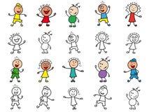 Set of twenty cartoon cheerful characters Stock Photos