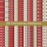 Set of twenty christmas patterns Stock Images