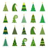 Set of twenty different Christmas trees Stock Photos