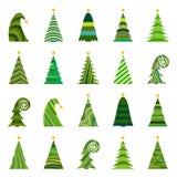 Set of twenty different Christmas trees Royalty Free Stock Image