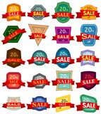 Set of twenty discount stickers. Colorful badges with red ribbon for sale 20 percent off. Stock Image