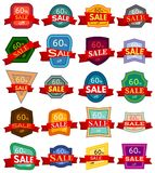 Set of twenty discount stickers. Colorful badges with red ribbon for sale 60 percent off. Vector illustration Royalty Free Stock Photos