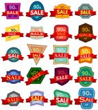 Set of twenty discount stickers. Colorful badges with red ribbon for sale 90 percent off. Vector illustration Royalty Free Stock Photography
