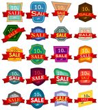 Set of twenty discount stickers. Colorful badges with red ribbon for sale 10 percent off. Vector illustration Stock Illustration