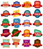 Set of twenty discount stickers. Colorful badges with red ribbon for sale 80 percent off. Vector illustration Stock Photography