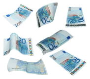 Set 20 twenty Euro banknote isolated on white Stock Image