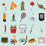 Set of twenty fishing color flat icons. Flat icons set for web and mobile design Stock Images