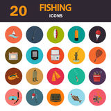 Set of twenty fishing color flat icons. Flat icons set for web and mobile design Royalty Free Stock Images