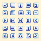 The set of twenty-five blue buttons. With a dark stroke, vector interface for games Stock Photography