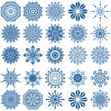 Set of twenty five blue snowflakes Royalty Free Stock Photo