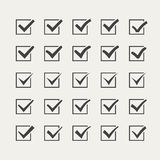 Set of twenty-five different grey vector ticks or Royalty Free Stock Photography