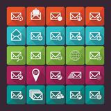 Set of twenty five flat  mail icons. Social. Set of twenty five flat  mail icons. Vector illustration. Social networking and communication Royalty Free Stock Images
