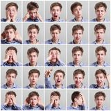 Set of twenty five pictures of young man with different gestures and emotions Royalty Free Stock Images