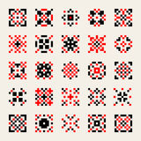 Set of Twenty Five Vector Black Red White Ukrainian Traditional Cross-Stitch Pattern Geometric  Elements Royalty Free Stock Photos