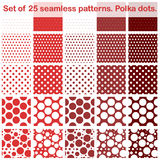 Set of twenty fives polka dots seamless patterns. Shades of red. All in separate layer. Vector EPS10. Stock Photos