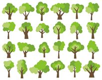 Set of twenty four different cartoon green trees isolated on white background. Royalty Free Stock Photo