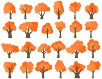 Set of twenty four different cartoon red trees isolated on white background Stock Images