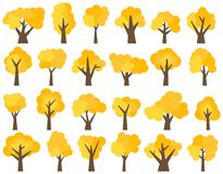 Set of twenty four different cartoon yellow trees isolated on white background Stock Photography