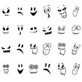 Set of twenty four ghosts faces outline Royalty Free Stock Photography