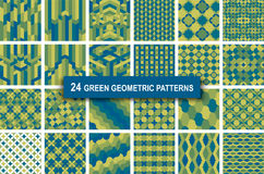 Set of twenty four green color geometric patterns abstract. Set of twenty four green color geometric patterns abstract retro art deco gothic background. vector Royalty Free Stock Image