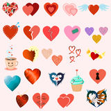 Set of twenty four hearts Stock Image