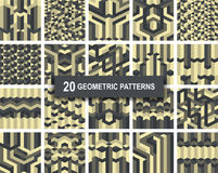Set of twenty gothic geometric patterns abstract background. Set of twenty gothic gold color geometric patterns abstract retro art deco background. vector Stock Image