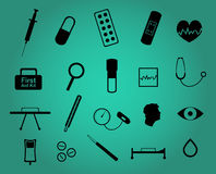 Set of twenty medical and health care simple icons. In black on greenish-blue background. Vector eps format 10 is available Stock Image