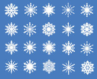 Set of twenty openwork snowflakes Royalty Free Stock Photos