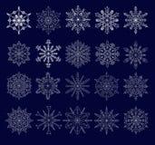 Set of twenty openwork snowflakes Stock Image