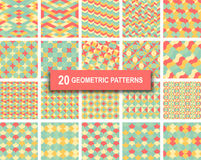 Set of twenty pastel color geometric patterns abstract background. Set of twenty pastel color geometric patterns abstract retro art deco gothic background Stock Photography