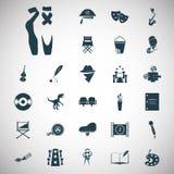 Set of twenty seven art and cinema icons. Simple art and cinema icons set for web and mobile design Royalty Free Stock Image