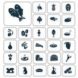 Set of twenty seven food icons Stock Image