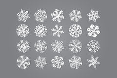 Set of twenty snowflakes Stock Photo
