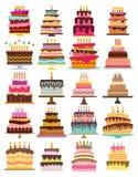 Set of twenty sweet birthday cakes with burning candles. Colorful holiday dessert. Vector celebration background Stock Photo