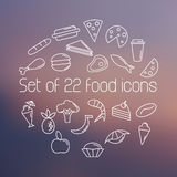 Set of twenty two food icons on blurred background. Outline icons set. Line icon style. Stock Images