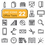 Set of twenty two icons linear Stock Images