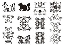 Set of the twirled squirrel symbols and frames Royalty Free Stock Images