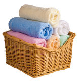 Set of twisted colored terry towels Stock Photos