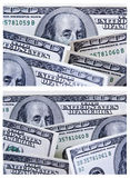 A Set of Two 100 Dollar Bill Backgrounds. A Collection / Set of Two One Hundred Dollar Bill Images. Same Theme - Two Variations Royalty Free Stock Images