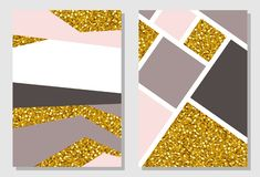 Set of two abstract design templates with gold glitter texture. Invitation or greeting card, posters, covers vector illustration